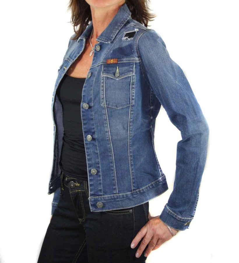 7 for all mankind damen jeansjacke nieten d86 gr xxs ebay. Black Bedroom Furniture Sets. Home Design Ideas