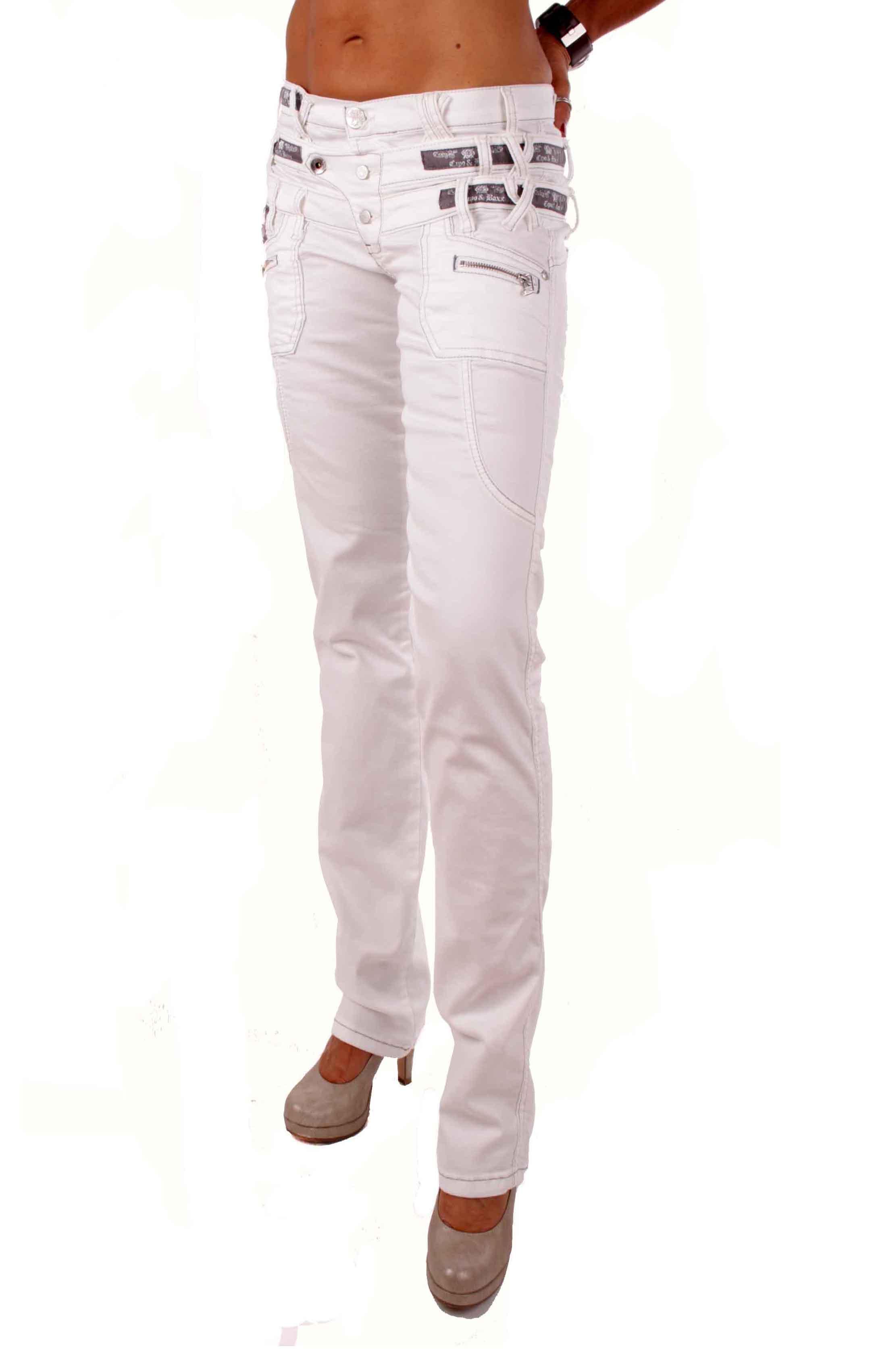 cipo baxx damen jeans hose 3 bund jeans cbw 0245 wei ebay. Black Bedroom Furniture Sets. Home Design Ideas