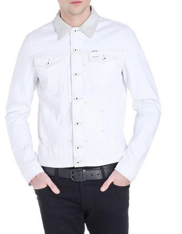diesel elshar 0gafj 100 giacca herren jacke jeansjacke wei ebay. Black Bedroom Furniture Sets. Home Design Ideas