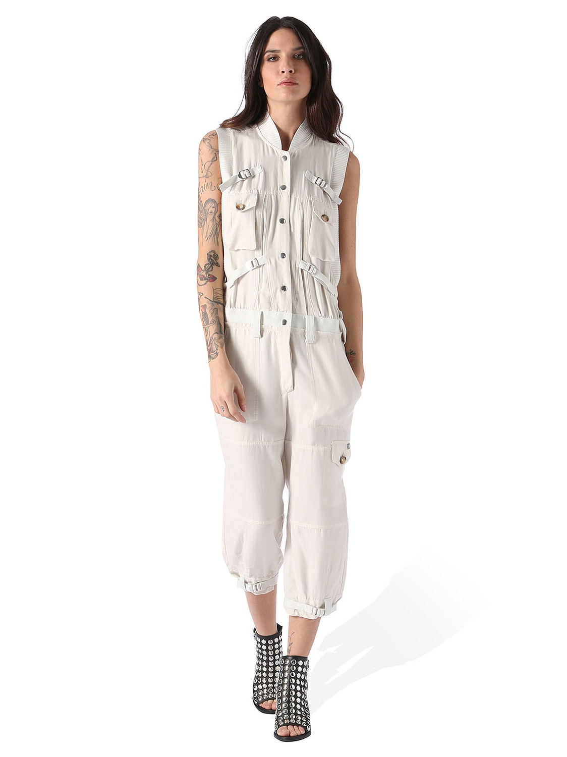 diesel j attie tuta damen jeans overall jumpsuit creme ebay. Black Bedroom Furniture Sets. Home Design Ideas