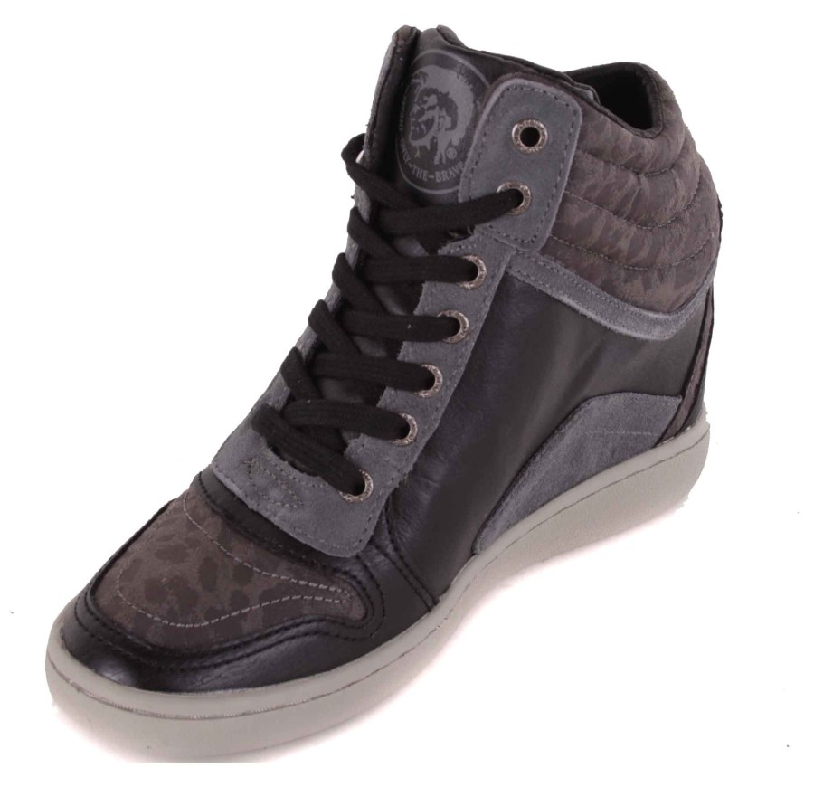diesel damen sneaker schn rschuhe keilabsatz grau gr 38 110 ebay. Black Bedroom Furniture Sets. Home Design Ideas