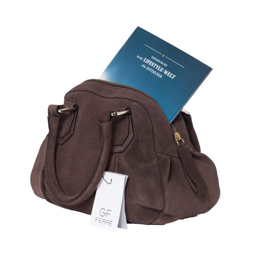 02bd3e33dcd55 ... Gian Franco Ferre Damen Handtasche Tasche Wildleder Braun X119 2 ...