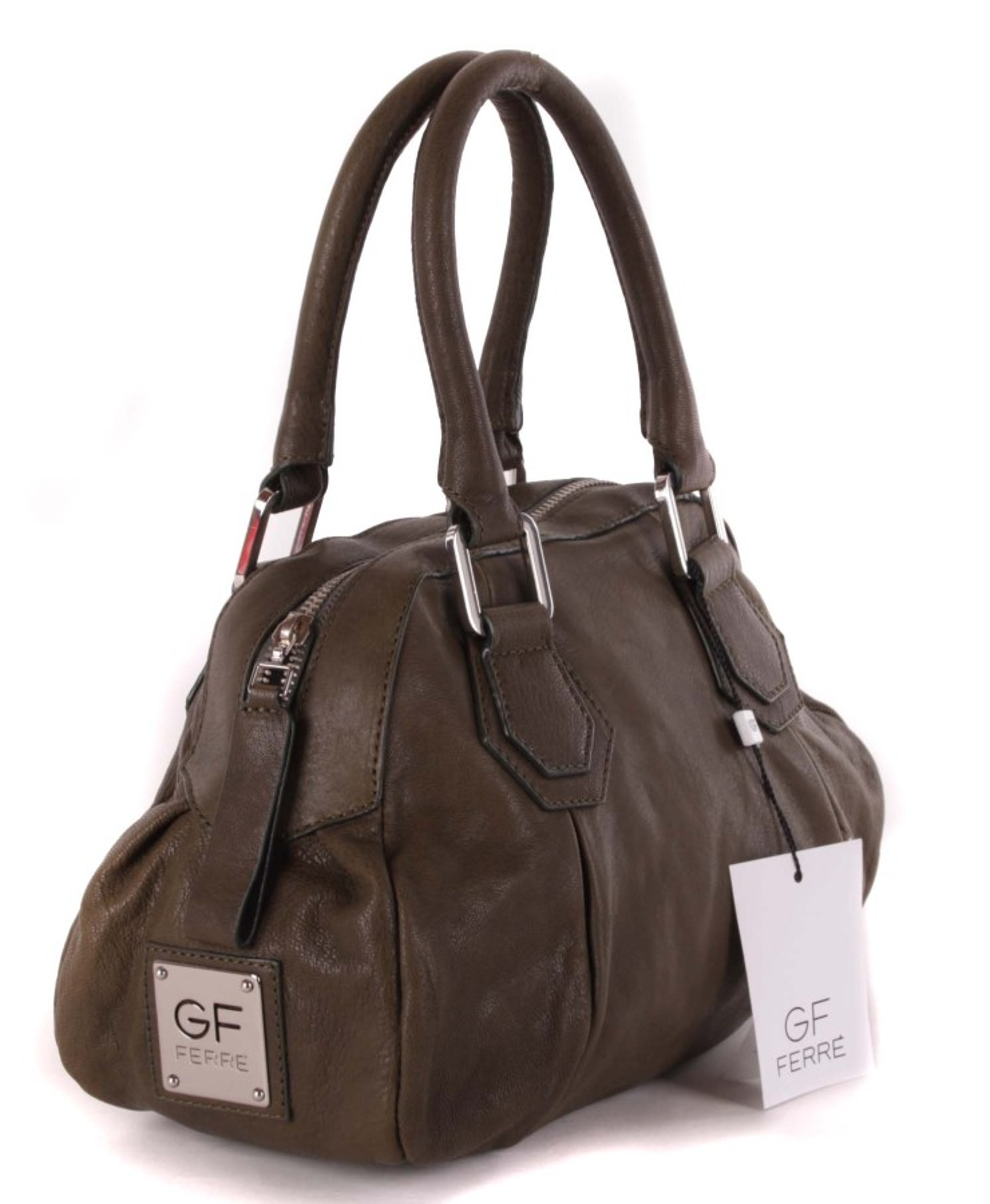 9dcc9ac6a2719 ... Gian Franco Ferre Damen Handtasche Tasche Leder Olivgrün X185 2 ...