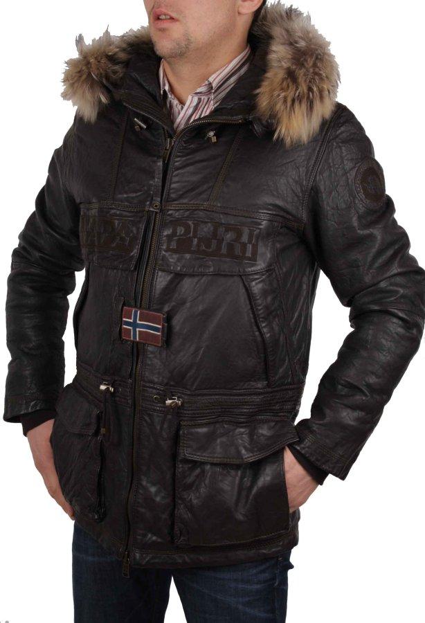 napapijri homme veste parka veste en cuir v ritable braun taille m rif39 ebay. Black Bedroom Furniture Sets. Home Design Ideas