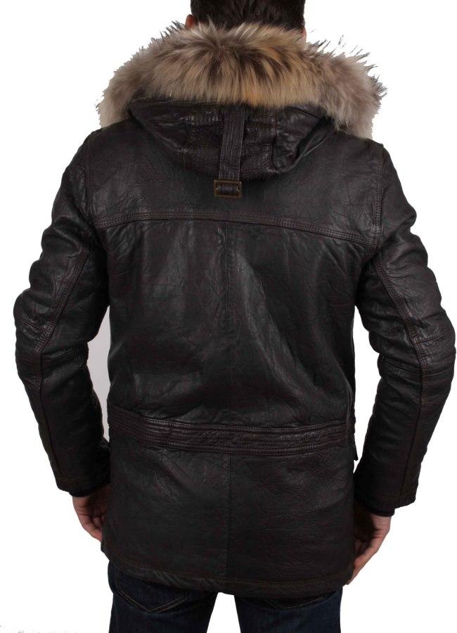 napapijri homme veste parka veste en cuir v ritable braun. Black Bedroom Furniture Sets. Home Design Ideas